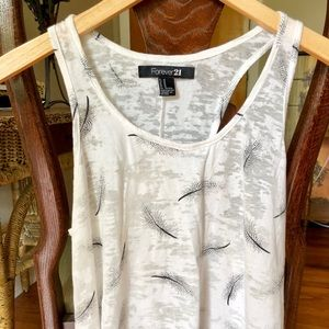 Forever 21 white feather tank top